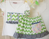 Custom Outfit Green Chevron: Initial Applique Shirt and Ruffle Skirt with Pocket