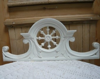 Wooden fronton shelf of an antique Brittany cupboard typical weel  white painted pattern home decor the wheel of life wedding gift decor