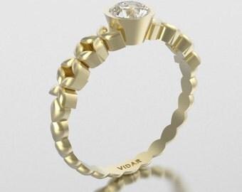 14K White Sapphire Unique Flower  Engagement Ring.