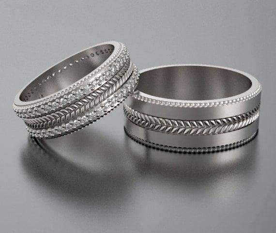 Wedding Bandwedding Ringhis And Hers 14k Diamond By
