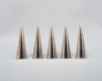 10 Silver 1 Inch Cone Spikes