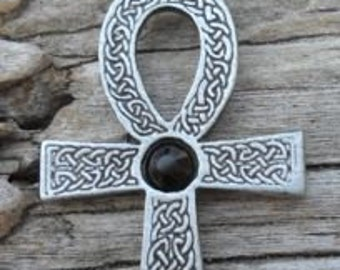 Pewter Ankh Egyptian Cross with Celtic Knots Pendant with Swarovski BLACK Onyx Crystal  (31G)