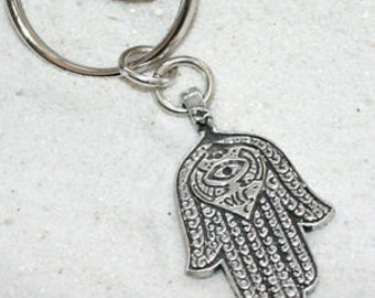 Pewter Hamsa Hand Egyptian Eye of Good Luck Fortune Love Health Keychain Key Ring (301-KC)