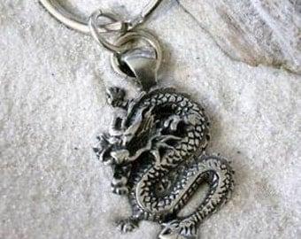 Pewter Chinese Dragon China Keychain Key Ring (25E)