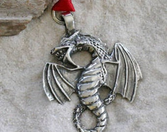 Pewter Dragon Fantasy Magical Gothic Christmas Ornament and Holiday Decoration (23G)