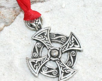 Pewter Solar Cross Celtic Druid Irish Pagan Christmas Ornament and Holiday Decoration (25B)