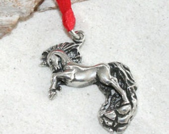 Pewter Unicorn Horse Fairy Pagan Christmas Ornament and Holiday Decoration (53F)