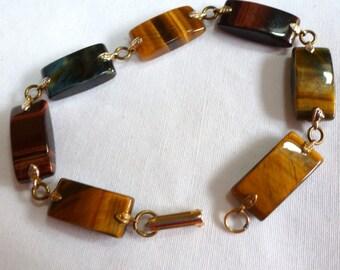 Gorgeous Goldtone Tiger Eye Polished  Stone Bracelet