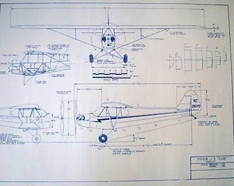 Piper Cub Aircraft Blueprint