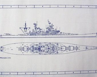 WW II Battleship USS Wisconsin Blueprint