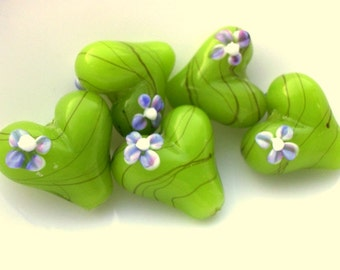 Heart Lampwork Beads - Bright Lime Green Heart Bead  - Lamp work Heart Beads - 20mm - Qty 2