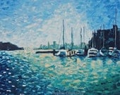 Poster Print of Oil painting: Boats and a San Francisco Cityscape, 12x18