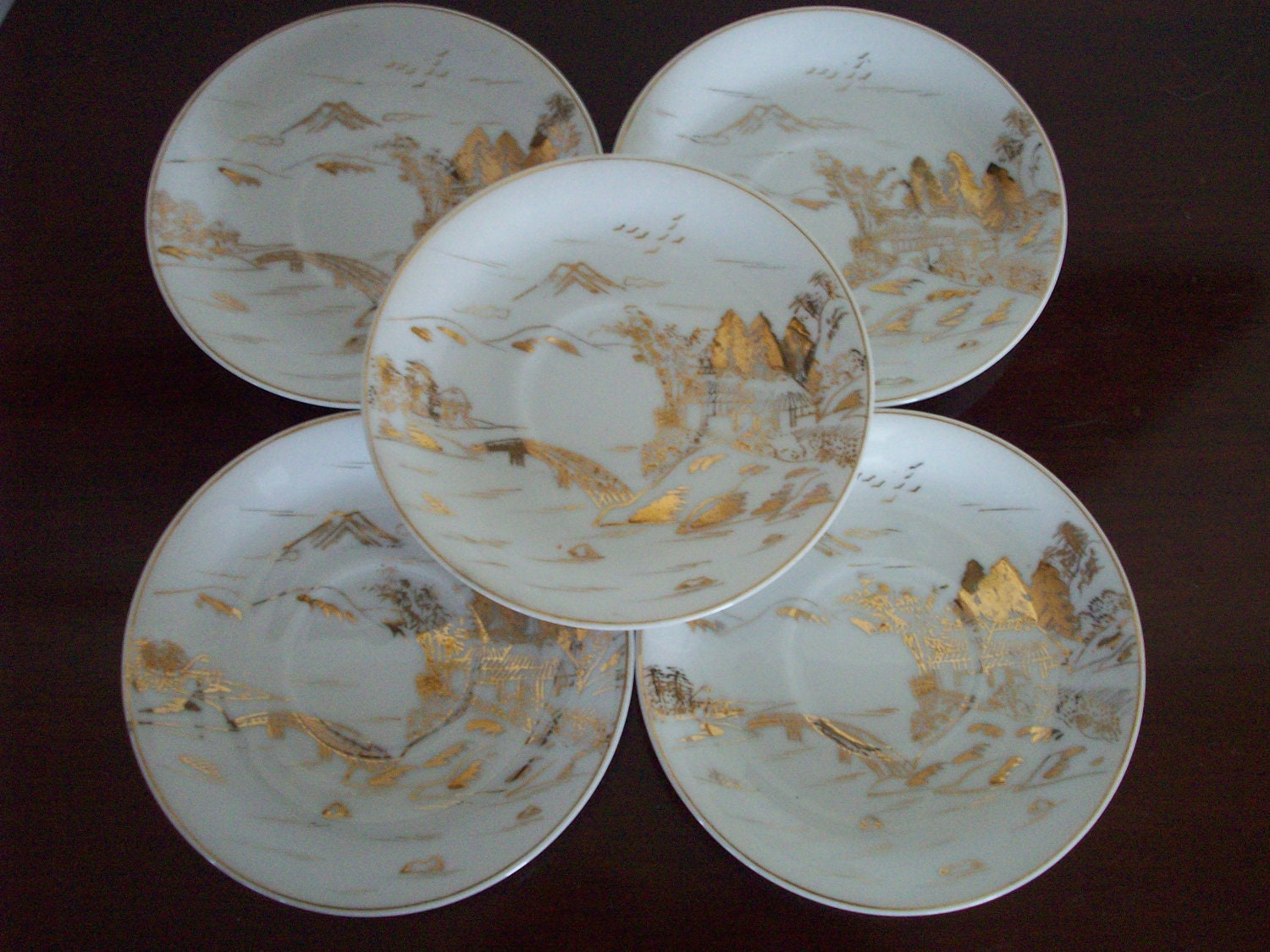 Set Of 24k Gold Hand Painted Kutani China Saucer By