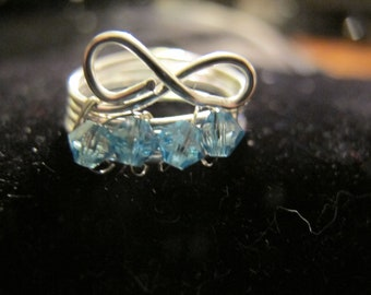 Children's wire wrapped infinity MARCH birthstone ring with aquamarine Swarovski crystals, children's jewelry
