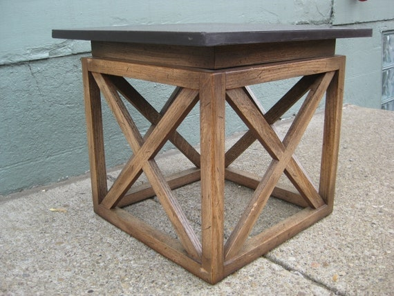 Soap Stone Side Table. Hand Carved Design On Top