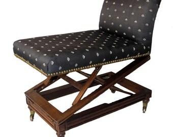 English Victorian Mahogany Upholstered Metamorphic Gout Stool - Mid 19th Century