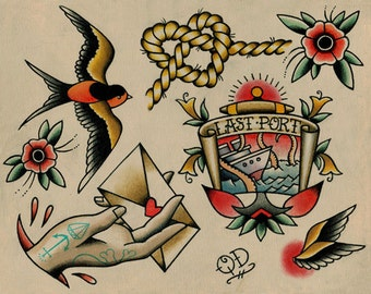 Nautical Tattoo Flash