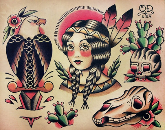 Native Indian Theme Traditional Tattoo By ParlorTattooPrints