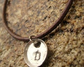 One Initial Charm Necklace-Hand Stamped-Unisex-Initial Jewelry-Upcycled Aluminum