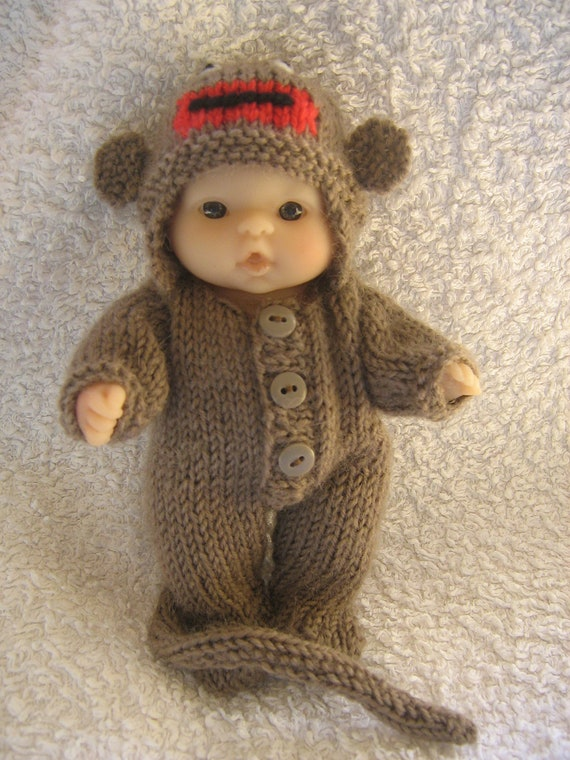 Knitting Patterns For Sock Monkey Clothes : Hand Knitted 5 Berenguer Dolls Clothes Sock Monkey