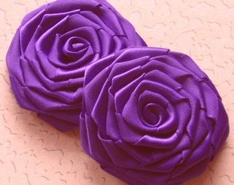 2 Handmade Ribbon Roses (2.5 inches) In Regal Purple MY-003-89 Ready To Ship