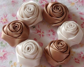 6 Handmade Ribbon Rolled Roses (1-1/4 inches) in Latte And Cream MY-025 -09 Ready To Ship