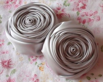 2 Handmade Ribbon Rolled Roses (2.5 inches) in Gray MY-015 -02 Ready To Ship