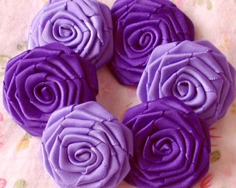 8 Handmade Ribbon Roses (1-1/2 inches) In  Deiphinium, Regal Purple  MY-027-10 Ready to Ship