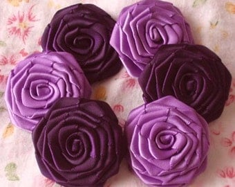 6 Handmade Ribbon Roses (1-1/2 inches) In  Grape, Plum,   MY-027-08 Ready to Ship