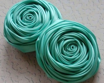 2 Handmade Ribbon Rolled Roses (2.5 inches) in Tropic  MY-015 - 56 Ready To Ship