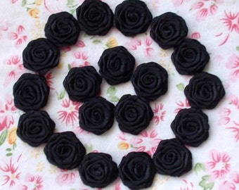 20 Small Handmade Ribbon Roses(3/4 inches) In Black MY-024-06 Ready To Ship