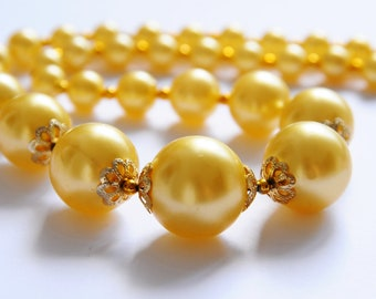 Primrose Yellow Faux Pearl Necklace