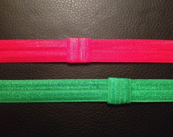 Set Of Two Red and Green Elastic Headbands