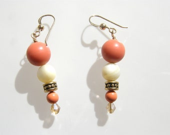 Coral and Ivory colored bead earrings