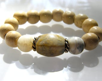 Blonde Wood and Warm agate stoned stretch bracelet with gold filled accents