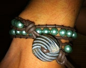 Mint Green Pearl 2x Wrap around. 2mm Leather Cord, Pretty detailed button.