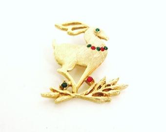 Vintage Christmas Reindeer Pin Signed Beatrix