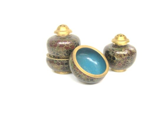 Vintage Salt and Pepper Shakers with Cellars