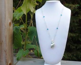 Seashell Aqua Beaded Necklace