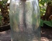 Vintage Aqua Mason Jar Mason HERO CROSS Pat Nov 30th 1858  Quart Fruit Canning Mason Ball Jar