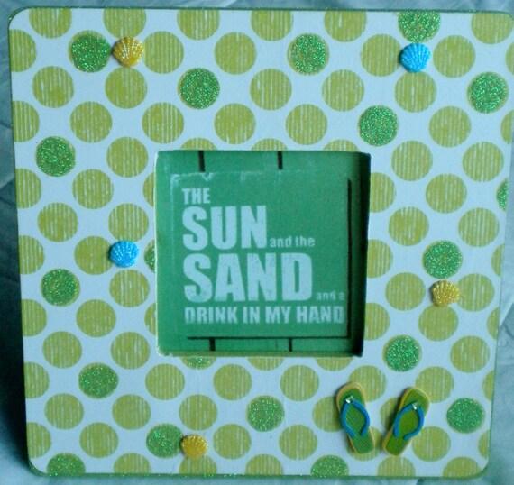 Green Polka Dot Flip Flop Frame Quote Beach Cottage Glitter Home Decor