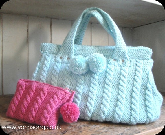 Knit Purse Pattern : Items similar to Cable Knit Handbag / Purse Knitting Pattern on Etsy
