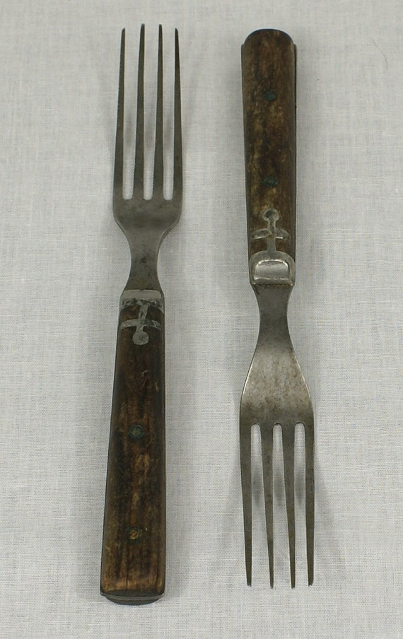 19th Century Wood Handle Forks with Pewter Inlay, Brass Pins, Full Tang