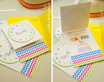 Time Flies Colorful Chevron EDITABLE & PRINTABLE Birthday Invitation - As Seen on Amy Atlas and HWTM Blogs