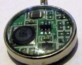 Computer Circuitry Round Resin Pendant