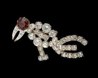 Vintage Rhinestone Figural Bird Pin - Austria