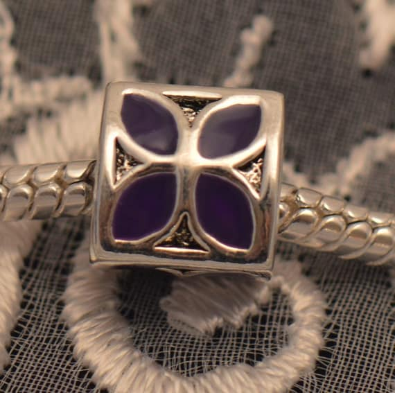 Purple Enamel Flower Bead 3-Sided