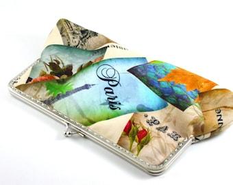 Cotton and viscon mixture  fabric,  clutch, retro, paris design, purse, clutch, handbag