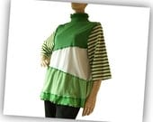 Green Womens Tshirt Tunic, long cotton knit shirt, medium large, spring green