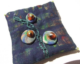 Oil paints stick and polymer clay fabric pin brooch